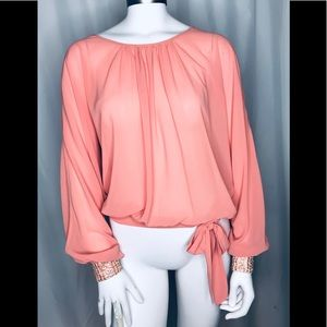 Gracia cold shoulder long sleeve top sequin cuffs